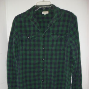 Sonoma Life & Style Long Sleeve Green Plaid Shirt